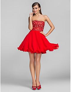 칵테일 파티 / 프롬 드레스 - 짧은 A-라인 / 공주 끈없는 스타일 숏 / 미니 쉬폰 와 비즈 / 크리스탈 디테일
