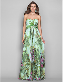 Formal Evening/Military Ball Dress - Print Plus Sizes A-line/Princess Strapless Floor-length Chiffon
