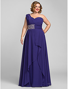 Formal Evening/Prom/Military Ball Dress - Regency Plus Sizes A-line One Shoulder Floor-length Chiffon