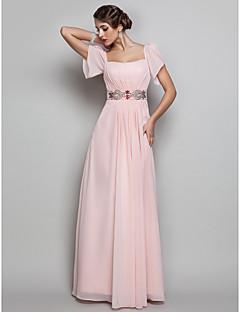 저녁 정장파티/프롬/밀리터리 볼 드레스 - 펄 핑크 시스/컬럼 바닥 길이 사각형 쉬폰 플러스 사이즈
