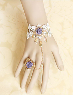 Handmade White Lace and Purple Satin Rose Sweet Lolita Ring Bracelet