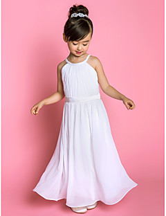 A-line Floor-length Flower Girl Dress - Chiffon Stretch Satin Jewel with Sash / Ribbon Side Draping
