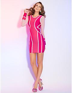 Cocktail Party/Holiday Dress - Multi-color Sheath/Column Jewel Short/Mini Rayon