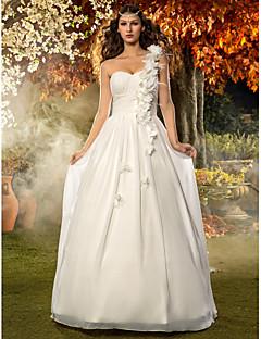 웨딩 드레스 - 아이보리(색상은 모니터에 따라 다를 수 있음) A 라인/프린세스 바닥 길이 원 숄더 쉬폰 플러스 사이즈