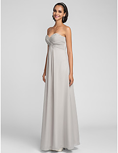 Floor-length Chiffon Bridesmaid Dress Sheath / Column Sweetheart Plus Size / Petite with Beading / Criss Cross / Ruching