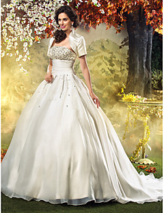 Lan Ting A-line/Princess Plus Sizes Wedding Dress - Ivory Sweep/Brush Train Strapless Organza