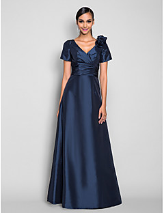 Homecoming Prom/Formal Evening/Military Ball Dress - Dark Navy Plus Sizes A-line V-neck Floor-length Taffeta