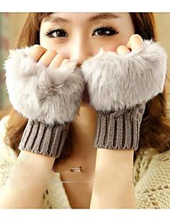 Faux Cony Haar halbe Handschuhe