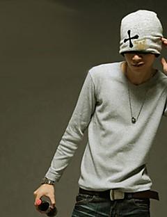 MSUIT Männer Langarmshirt mit V-Ausschnitt reine Farbe Hellgrau-Shirt