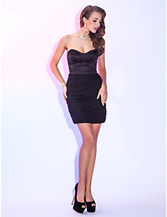 Cocktail Party / Holiday Dress - Black Plus Sizes / Petite Sheath/Column Sweetheart Short/Mini Chiffon / Satin