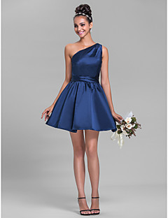 Short/Mini Satin Bridesmaid Dress - Dark Navy Plus Sizes / Petite A-line One Shoulder