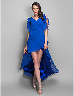 TS Couture® Cocktail Party / Holiday Dress - High Low Plus Size / Petite Sheath / Column V-neck Asymmetrical Chiffon with Beading / Ruffles / Criss