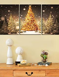 Canvastaulu taide kulta joulukuusi Set of 3