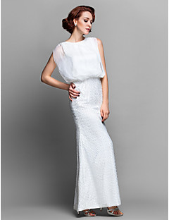 Lanting Sheath/Column Plus Sizes / Petite Mother of the Bride Dress - Ivory Floor-length Sleeveless Chiffon / Lace