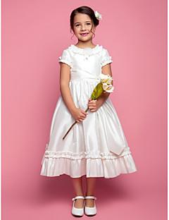 כלה לנטינג ® א-קו / נסיכת שמלה תה באורך נערת פרח - תכשיט שרוול קצר טפטה עם פרח (ים) / סלסולים