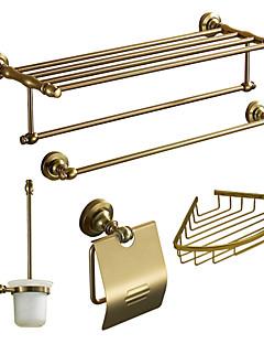 Bath Accessory Set, Antique 5 Piece Gold Anodizing Aluminum Hardware Set