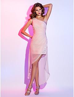 Tubinho Assimétrico Curto / Mini Chiffon Aveludado Coquetel Reunião de Classe Feriado Vestido com Miçangas Drapeado Lateral de TS Couture®