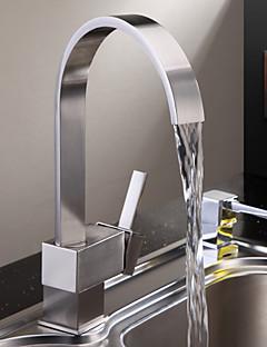Zeitgenössisch Hoch / High-Arc deckenmontiert Wasserfall with  Keramisches Ventil Einhand Ein Loch for  Gebürsteter Nickel , Armatur für