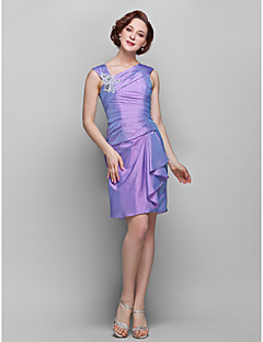 Sheath/Column Plus Sizes Mother of the Bride Dress - Lilac Knee-length Sleeveless Taffeta