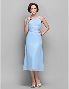 LAN TING BRIDE Sheath / Column Plus Size Petite Mother of the Bride Dress - Elegant Tea-length Sleeveless Chiffon with Draping Ruching