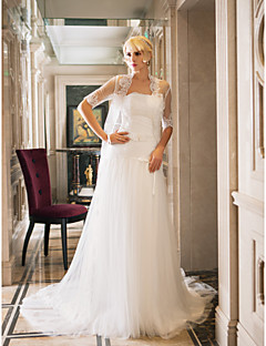 Sheath/Column Plus Sizes Wedding Dress - Ivory Court Train Strapless Tulle/Lace