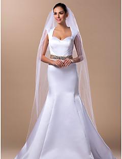 """Závoje Dvě vrstvy Závoj délky katedrála 250 cm (98,43"""") Tyl Bílá Slonová kostÁčkový střih, plesové šaty, princesové, pouzdrové / tužkové,"""