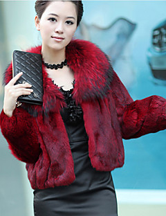Manga comprida Fox Fur Xaile gola Rex Rabbit Fur Jacket Casual / Office (mais cores)