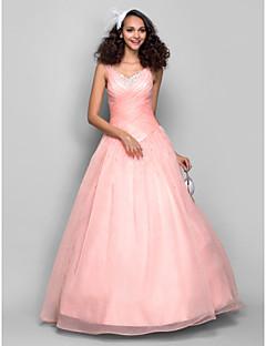 프롬/저녁 정장파티 드레스 - 펄 핑크 볼 가운 바닥 길이 스트랩 오르간자
