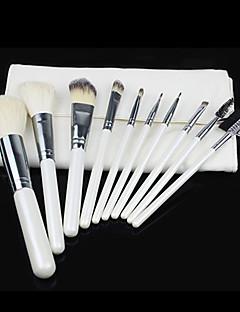 10pcs Bristle/Goat hair Makeup Brushes set Blush/Concealer/Powder/Foundation Brush Shadow/Eyeliner/Eyelash/Brow/Lip Brush with white Pouch
