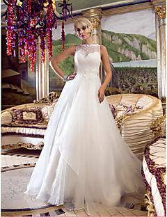 Lanting una línea de vestido de novia / princesa - marfil reina Anne tren de la corte del organza / cordón