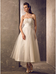 Lanting A-line Plus Sizes Wedding Dress - Ivory Tea-length Strapless Tulle/Taffeta