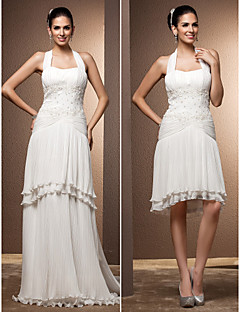 Lan Ting Sheath/Column Plus Sizes Wedding Dress - Ivory Floor-length Halter Chiffon