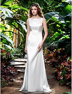 Lanting Sheath/Column Plus Sizes Wedding Dress - Ivory Sweep/Brush Train Bateau Stretch Satin