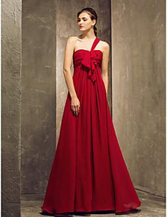 Lanting Bride® Yere Kadar Şifon Nedime Elbisesi Sütun Tek Omuz Büyük Beden / Minyon ile Drape / Fırfırlar / Dantelalar