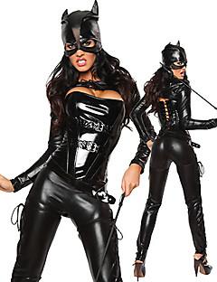 Sexy Catwoman schwarz PU-Leder-Frauen Kostüm