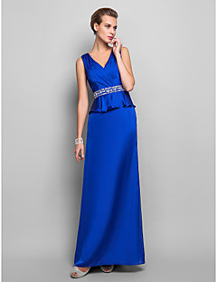 Formal Evening/Military Ball Dress - Royal Blue Plus Sizes Sheath/Column V-neck Floor-length Satin Chiffon