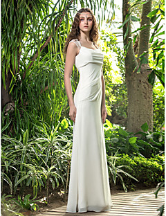 Lanting Bride A-line Petite / Plus Sizes Wedding Dress-Floor-length Square Georgette