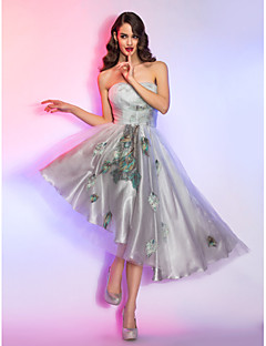 Homecoming Cocktail Party/Homecoming/Holiday Dress - Silver Plus Sizes A-line Strapless Asymmetrical Lace/Charmeuse/Tencel