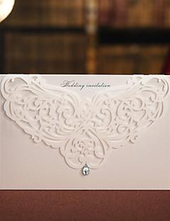 """Unpersonalisierte Oberseite gefaltet Hochzeits-Einladungen Geblühmter Style Perlenpapier 6 ½""""×4 ½"""" (16.6*11.5cm) Straß"""