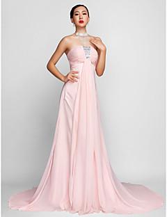 저녁 정장파티 드레스 - 블러슁 핑크 A라인 스트랩 없음 쉬폰 플러스 사이즈