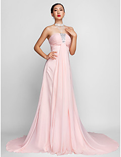 A-linje Stroppløs - Formell Aften Dress - Rosa Chiffon Plus Sizes