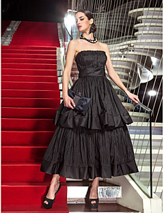 Formal Evening / Military Ball Dress - Black Plus Sizes / Petite A-line Strapless Tea-length Taffeta
