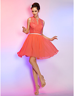 Homecoming Cocktail Party/Homecoming/Holiday Dress - Watermelon Plus Sizes A-line Jewel Short/Mini Chiffon/Lace
