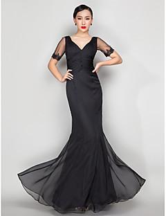 저녁 정장파티/밀리터리 볼 드레스 - 블랙 트럼펫/멀메이드 바닥 길이 V넥 쉬폰 플러스 사이즈