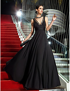 TS Couture® Military Ball / Formal Evening Dress - Black Plus Sizes / Petite A-line V-neck Floor-length Jersey