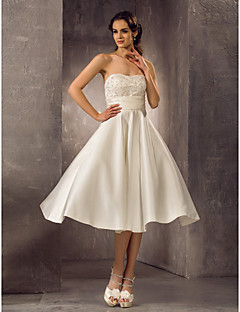 A-line Plus Sizes Wedding Dress - Ivory Tea-length Strapless Satin/Lace