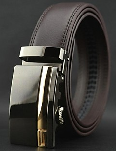 Men's Business Automatic Buckle Brown Genuine Leather Belt