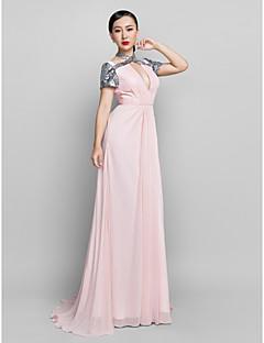 Kappe / Kolonne Grime - Formell Aften/Skoleball/Militærball Dress - Perle Rosa Gulvlengde Chiffon Plus Sizes