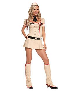 Modern American Women Soldier Khaki Polyester Carnival Party Police Uniform