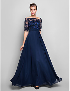 Homecoming Formal Evening/Military Ball Dress - Dark Navy Plus Sizes Sheath/Column Off-the-shoulder Floor-length Chiffon/Tulle
